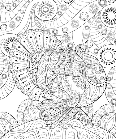 A cute turkeywith ornaments  on the abstract floral background image for relaxing activity.Zen art style illustration for print.A coloring book,page for relaxing.Poster design.