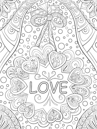 A cute crown of hearts with bow and lettering on the abstract background  with ornaments image for relaxing.A coloring book,page for adults.Zen art style illustration for print.Poster design.