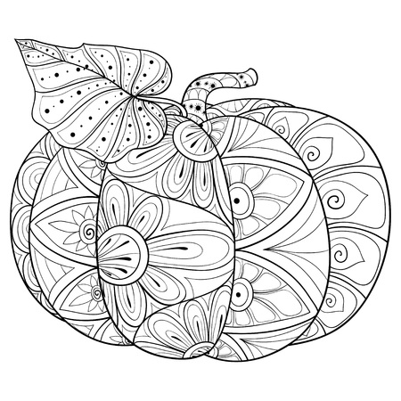 A cute pumpkin with ornaments image for relaxing activity.A coloring book,page for adults.Zen art style illustration for print.Poster design.