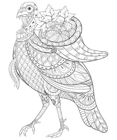 Un lindo pavo con una canasta en la espalda llena de frutas con imagen de adornos para actividad relajante. Un libro para colorear, página para adultos. Ilustración de estilo de arte Zen para imprimir. Diseño de póster.
