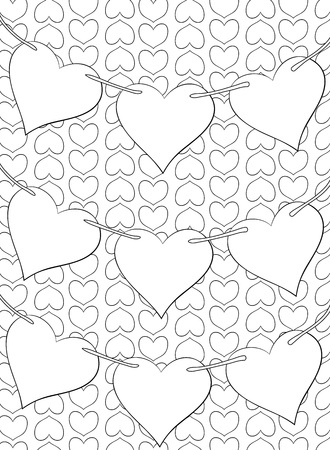 stock vector the cute garlands of hearts on the background image for relaxing a coloring book page for adults and