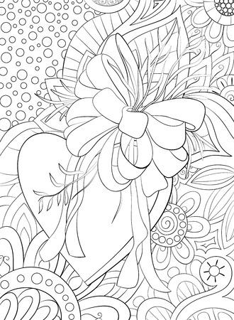 Un cuore carino con fiocco e foglie sullo sfondo floreale astratto con immagine di ornamenti per rilassarsi. Un libro da colorare, pagina per adulti. Illustrazione in stile arte zen per la stampa. Disegno del poster.