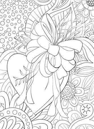 Un lindo corazón con arco y hojas en el fondo floral abstracto con imagen de adornos para relajarse. Un libro para colorear, página para adultos. Ilustración de estilo de arte Zen para imprimir. Diseño de póster.