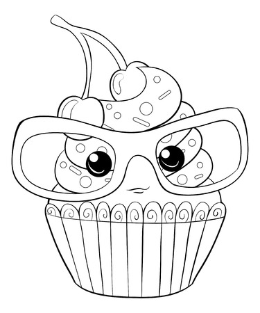 A cartoon cute cupcake with glasses image for relaxing activity.A coloring book,page for children.Line art style illustration for print.Poster design.