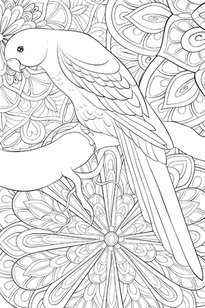 A cute parrot on the brunch on the brunch on the abstract background with ornaments image for relaxing activity.A coloring book,page for adults.Zen art style illustration for print.Poster design.