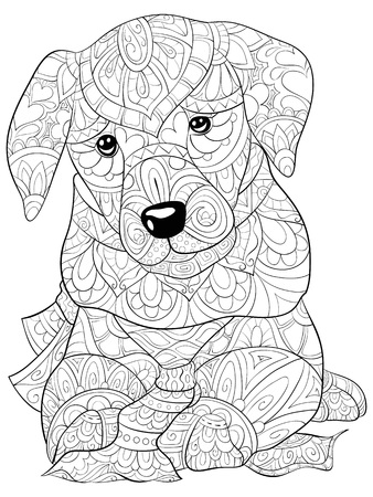 A cute dog with ornaments  image for relaxing activity.A coloring book,page for adults.Zen art style illustration for print.Poster design. Vettoriali