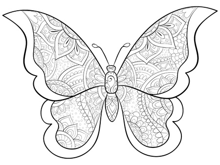 A cute butterfly with ornaments image for relaxing activity.A coloring book,page for adults.Zen art style illustration for print.Poster design. Stock Illustratie
