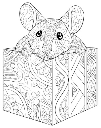 A cute rat in a box with ornaments  image for relaxing activity.A coloring book,page for adults.Zen art style illustration for print.Poster design. Illustration