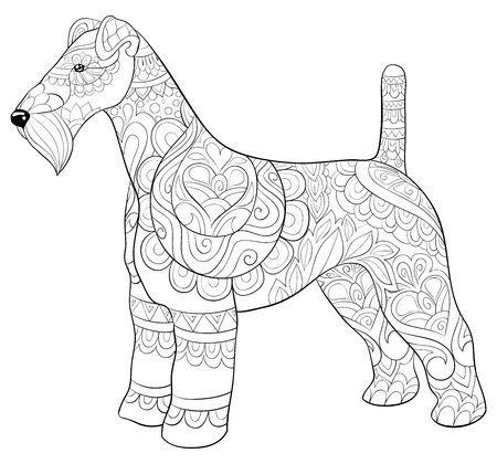 A cute dog with ornaments  image for relaxing activity.A coloring book,page for adults.Zen art style illustration for print.Poster design. Ilustracja