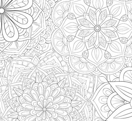 An abstract floral background image for adults.A coloring book,page for relaxing activity.Zen art style illustration for print.Poster design.