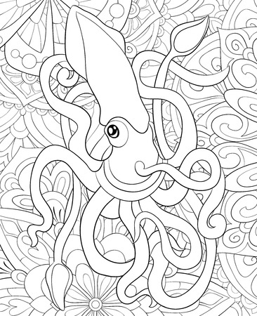 A cute octopus on the abstract background with ornaments  image for relaxing activity.A coloring book,page for adults.Zen art style illustration for print.Poster design.