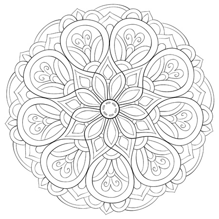 A zen mandala image for adults.A coloring book,page for relaxing activity.Zen art style illustration for print.Poster design. Stock Illustratie