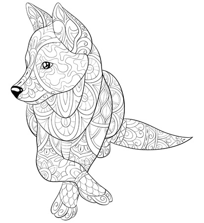 A cute dog with ornaments  image for relaxing activity.A coloring book,page for adults.Zen art style illustration for print.Poster design. Иллюстрация
