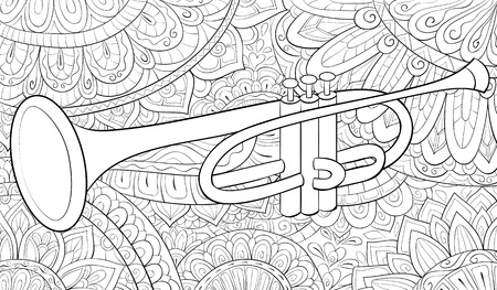 A cute trumpet  on the abstract background with ornaments image for relaxing activity.A coloring book,page for adults.Zen art style illustration for print.Poster design.