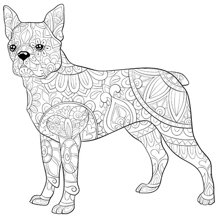 A cute dog with ornaments  image for relaxing activity.A coloring book,page for adults.Zen art style illustration for print.Poster design. Vectores