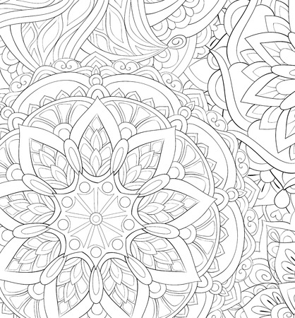 An abstract background image for adults.A coloring boo,page for relaxing activity.Zen art style illustration for print.Poster design.