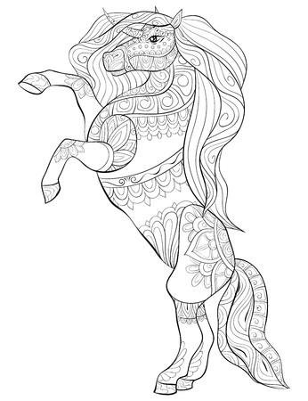 Un lindo unicornio con imagen de adornos para actividad relajante. Un libro para colorear, página para adultos. Ilustración de estilo de arte Zen para imprimir. Diseño de póster.