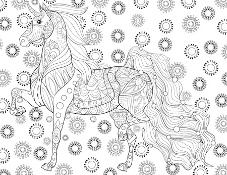 A cute unicorn on the abstract background with ornaments image for relaxing activity.A coloring book,page for adults.Zen art style illustration for print.Poster design. Ilustracja