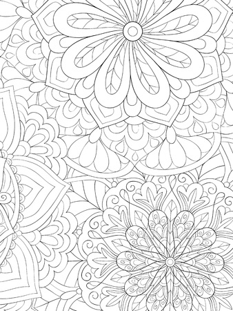 An abstract background image for adults.A coloring book,page for relaxing activity.Zen art style illustration for print.Poster design.