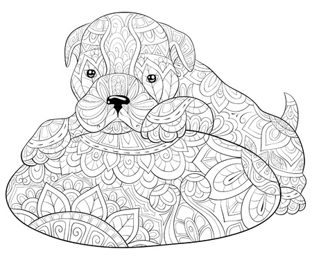 A cute dog  on a pillow with ornaments image for relaxing activity.A coloring book,page for adults.Zen art style illustration for print.Poster design.