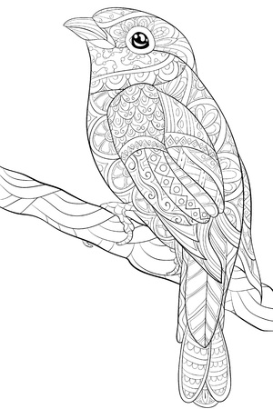A cute bird on the brunch with ornaments  image for relaxing activity.A coloring book,page for adults.Zen art style illustration for print.Poster design. Stock Illustratie