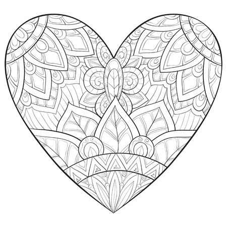 A cute heart  with ornaments image for relaxing activity.A coloring book,page for adults.Zen art style illustration for print.Poster design. Stock Illustratie