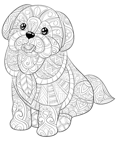 A cute dog with ornaments  image for relaxing activity.A coloring book,page for adults.Zen art style illustration for print.Poster design. Stock Illustratie