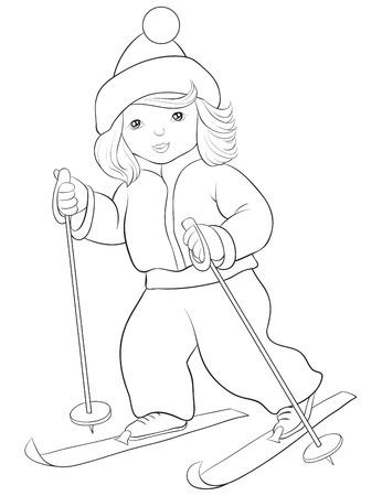 Una caricatura de niña linda con imagen de esquís para actividad relajante. Un libro para colorear, página para niños. Ilustración de estilo de arte lineal para imprimir. Diseño de póster.