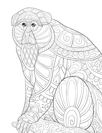 A cute monkey with ornaments on the brunch image for relaxing activity.A coloring book,page for adults.Zen art style illustration for print.Poster design.