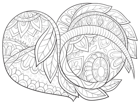 A Valentine's Day Heart with ornaments image for adults.A coloring book,page for relaxing activity.Zen art style illustration.