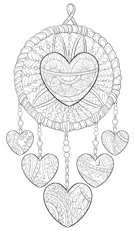 A cute dreamcatcher with ornaments image for adults.A coloring book,page for relaxing activity.Zen art style illustration for print.Poster design.