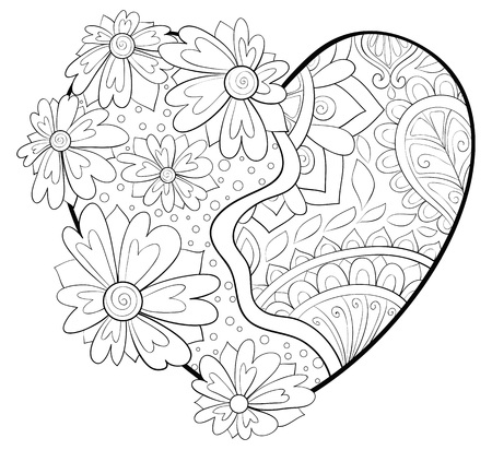 A cute heart with ornaments for Valentine's Day image for adults.A coloring book,page for relaxing activity.Zen art style illustration for print.Poster design. Illustration