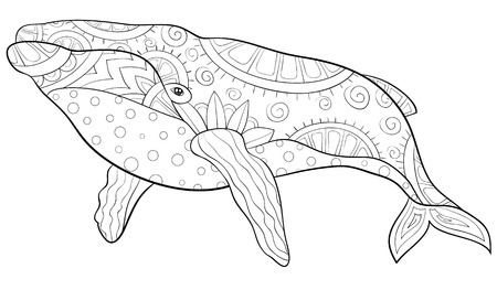 A cute big whale with ornaments image for relaxing activity.A coloring book,page for adults.Zen art style illustration for print.Poster design.