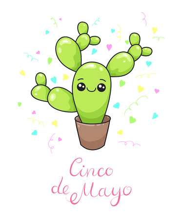 A cute kawaii cactus on the vase with lettering illustration.Cinco de Mayo Holiday celebrating image for print.Postcard.