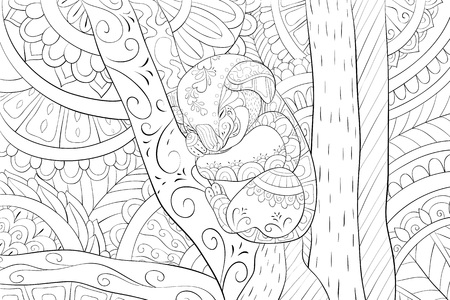 A cute koala bear with ornaments on the abstract background  image for relaxing activity.A coloring book,page for adults.Zen art style illustration for print.Poster design.