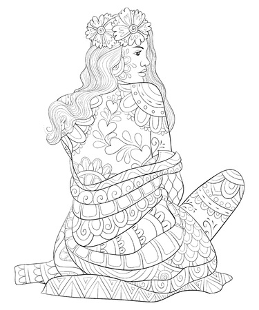 A cute girl with ornaments image for relaxing activity.A coloring book,page for adults.Zen art style illustration for print.Poster design.