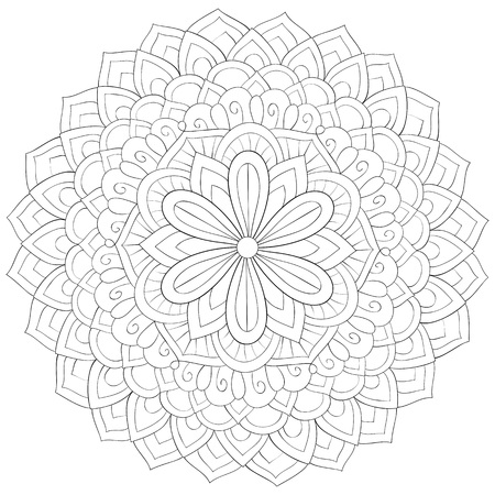 A cute zen mandala with ornaments image for relaxing activity.A coloring book,page for adults.Poster design. Ilustrace