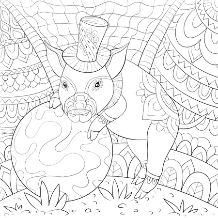 A cute pig wearing a hat near a ball on the background with ornaments image for relaxing activity.A coloring book,page for adults.Zen art style illustration for print.Poster design.