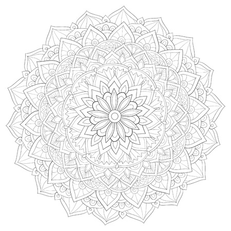 A cute zen mandala with ornaments image for relaxing activity.A coloring book,page for adults.Poster design. Stock Illustratie