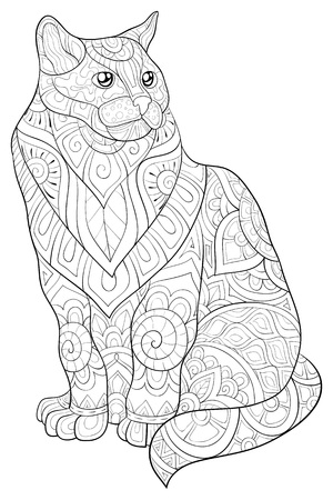 A cute cat with ornaments image for relaxing activity.Coloring book,page for adults.Zen art style illustration for print.Poster design.
