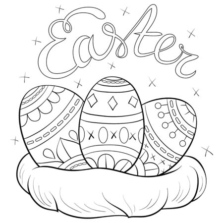 An Easter nest with eggs with zen ornaments image for relaxing.A coloring page for adults and children.Poster design for relaxing activity. Vector Illustration