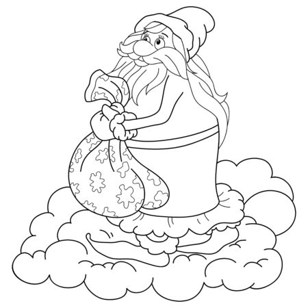 Santa Klaus with gifts on the cloud image for relaxing activity.A coloring book,page for children,black and white image.