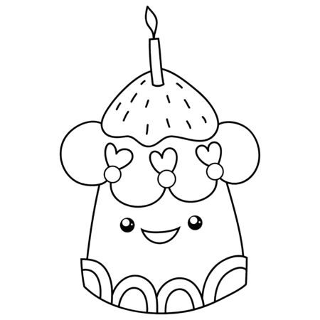 - A Kawaii Cupcake Image For Relaxing Activity.A Coloring Book,page.. Royalty  Free Cliparts, Vectors, And Stock Illustration. Image 148720982.