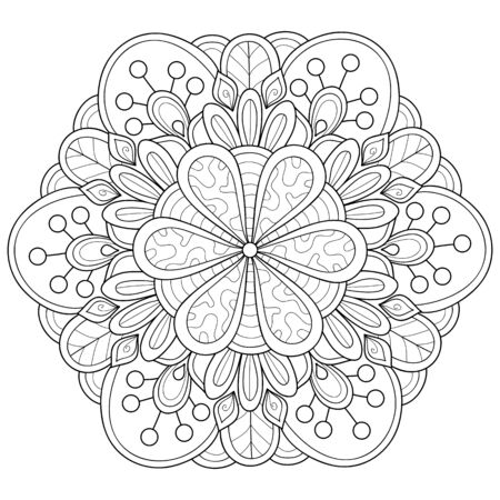 A black and white zen mandala image for adults,line art style illustration for relaxing activity.Poster design for print. Ilustración de vector