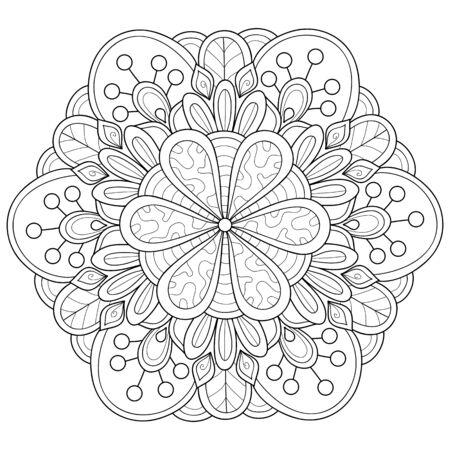 Une image de mandala zen en noir et blanc pour adultes, illustration de style art en ligne pour une activité relaxante. Conception d'affiche pour l'impression. Vecteurs