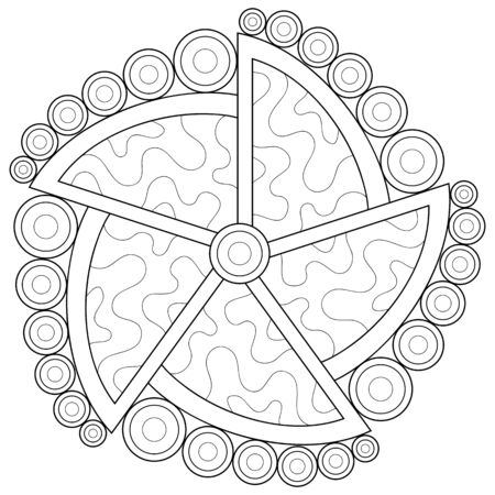 A black and white zen mandala image for adults,line art style illustration for relaxing activity.Poster design for print.