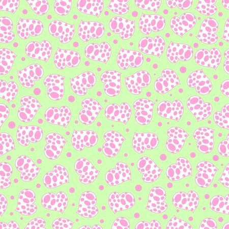 A repeat pattern with small hearts  on the green  background image for print. Ilustracja