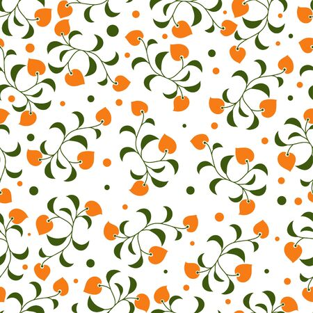 A repeat pattern with small orange flowers on the white background image for print. Ilustracja