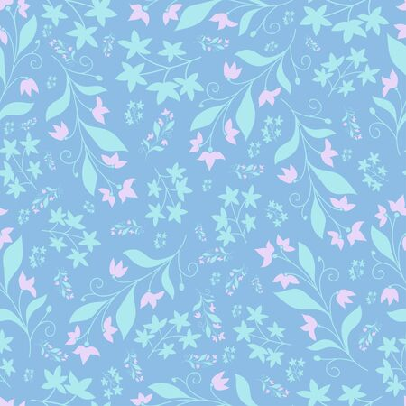A repeat pattern with small flowers on the blur background image for print.