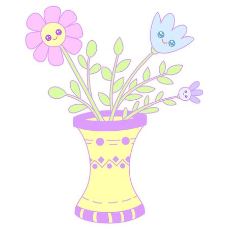 A kawaii vase with flowers image for print,icon design.